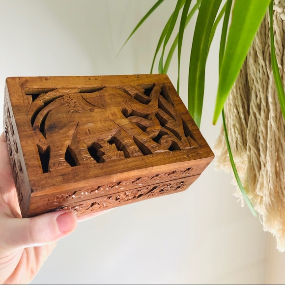 Wood Elephant Trinket Box Made in India Handcarved